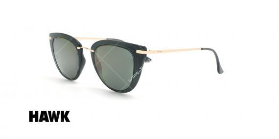 عینک آفتابی گربه ای هاوک - HAWK HW1611 - مشکی طلایی - عکاسی وحدت - زاویه سه رخ