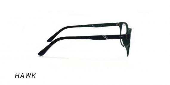 عینک طبی هاوک با رویه آفتابی - HAWK HW7191- رنگ فریم سبز تیره - عکس اپتیک وحدت - عکس از زاویه کنار
