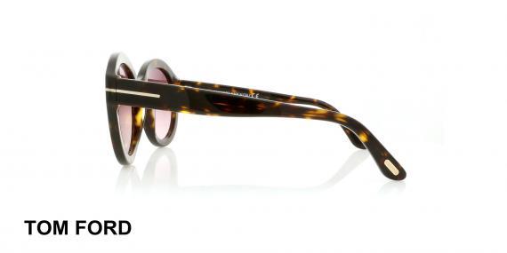 عینک گرد کائوچویی زنانه  تام فورد - TOMFORD TF611- رنگ فریم قهوه ای هاوانا - اپتیک وحدت - عکس زاویه کنار