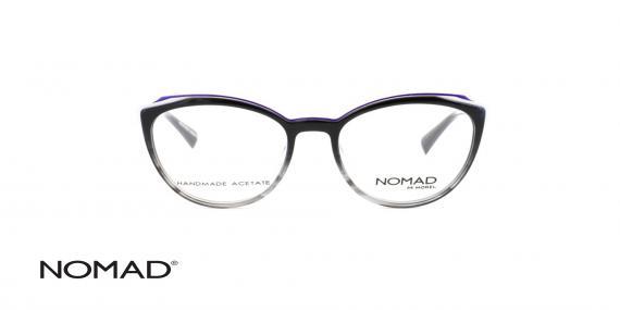 عینک طبی نوماد بدنه کائوچویی مشکی رو به شیشه ای - دسته فلزی سفید - زاویه سه رخ