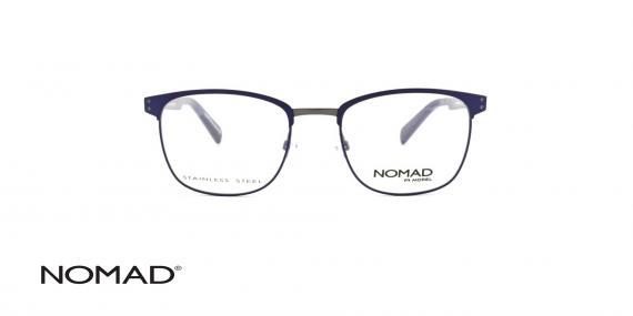 عینک طبی فلزی کائوچویی نوماد - بدنه آبی قسمت فلزی نوک مدادی - زاویه روبرو
