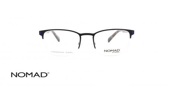 عینک طبی زیر گریف نوماد - دسته کائوچویی قهوه ای - بدنه مشکی فلزی - زاویه روبرو