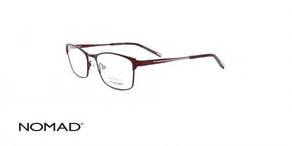 عینک طبی نوماد - فلزی زرشکی رنگ - زاویه سه رخ