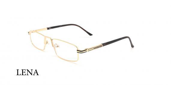 عینک مطالعه لنا - LENA LE446 - مشکی طلایی- عکاسی وحدت - زاویه سه رخ
