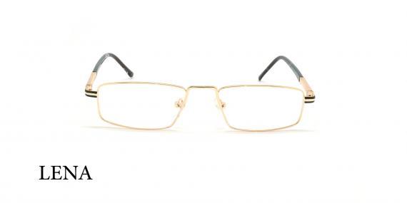 عینک مطالعه لنا - LENA LE446 - مشکی طلایی- عکاسی وحدت - زاویه روبرو