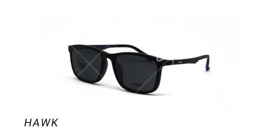 عینک طبی هاوک با رویه آفتابی - HAWK HW7232 - رنگ مشکی- روبه افتابی-عکس وحدت اپتیک - عکس زاویه سه رخ