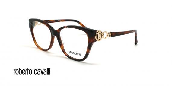 عینک طبی گربه ای روبرتو کاوالی - ROBERTO CAVALLI LARI RC5058 - قهوه ای هاوانا - عکاسی وحدت - زاویه سه رخ