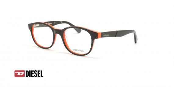 عینک طبی بیضی دیزل - DIESEL DL5243 - مشکی نارنجی - عکاسی وحدت - زاویه سه رخ