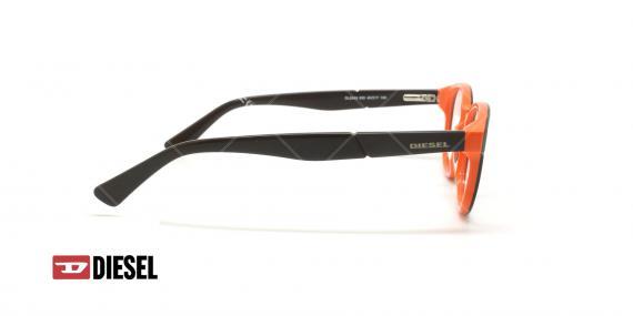 عینک طبی بیضی دیزل - DIESEL DL5243 - مشکی نارنجی - عکاسی وحدت - زاویه کنار