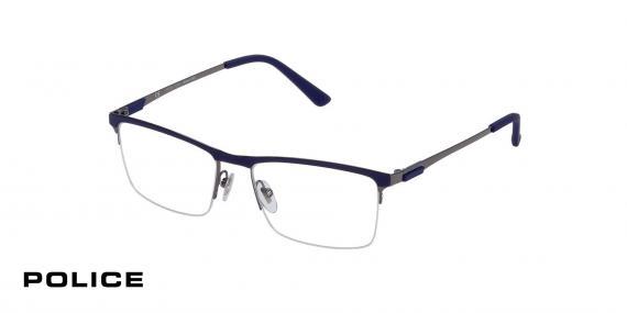 عینک زیرگریف VPL564  پلیس - رنگ سورمه ای طوسی - اپتیک وحدت - عکس از زاویه سه رخ