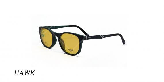 عینک طبی هاوک با رویه آفتابی - HAWK HW7191- رنگ فریم سبز تیره - عکس اپتیک وحدت - عکس از زاویه سه رخ