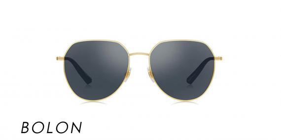 عینک آفتابی بولون - BOLON BL7073 - فریم طلایی و شیشه مشکی - اپتیک وحدت - عکس زاویه روبرو