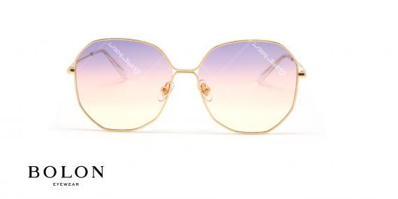 عینک آفتابی پروانه ای چند ضلعی بولون - BOLON BL7083 - طلایی - عکاسی وحدت - زاویه روبرو