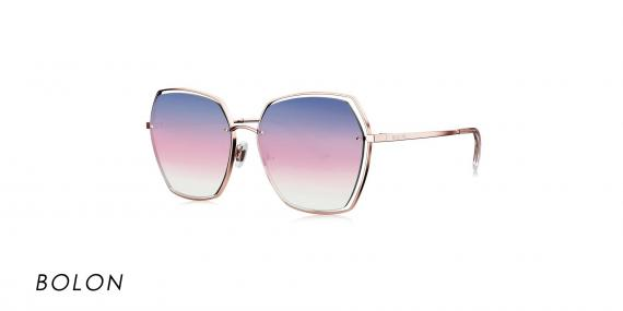 عینک آفتابی بولون - BOLON BL7085 - رنگ طلایی و عدسی بنفش طیف دار - عکاسی وحدت- عکس زاویه سه رخ