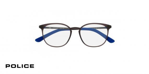 عینک بیضی طبی پلیس - POLICE VPL554 - رنگ فریم مشکی و آبی - اپتیک وحدت - عکس زاویه روبرو