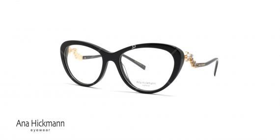 عینک طبی کائوچویی آنا هیکمن - رنگ بدنه مشکی - عکاسی وحدت - زاویه سه رخ