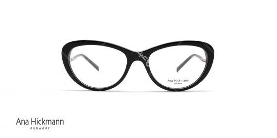 عینک طبی کائوچویی آنا هیکمن - رنگ بدنه مشکی - عکاسی وحدت - زاویه رو به رو