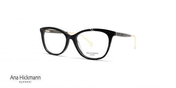 عینک طبی آناهیکمن مدل گربه ای . بدنه کائوچویی انتهای دسته فلزی طلایی - مشکی - عکاسی وحدت - زاویه سه رخ