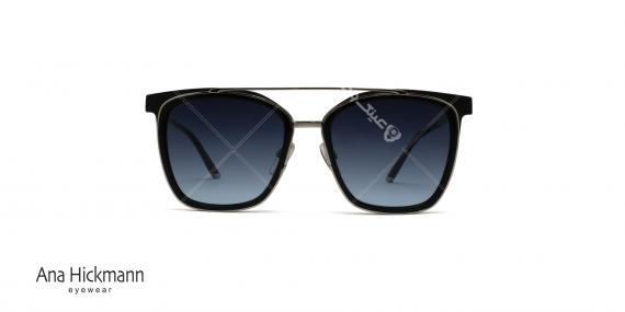 عینک آفتابی مربعی شکل دو پل آناهیکمن - بدنه مشکی نوک مدادی - عکاسی وحدت - زاویه روبرو
