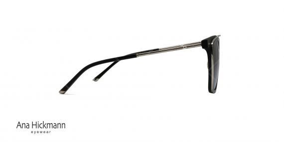 عینک آفتابی مربعی شکل دو پل آناهیکمن - بدنه مشکی نوک مدادی - عکاسی وحدت - زاویه کنار
