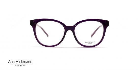 عینک طبی آناهیکمن - دسته دو رو - بنفش رنگ - عکاسی وحدت - زاویه روبرو