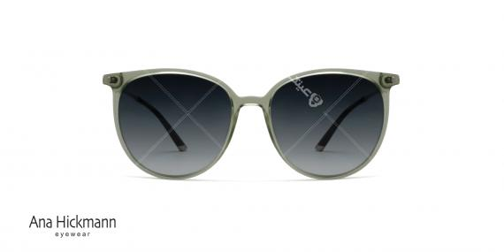 عینک آفتابی گرد بیضی شکل آناهیکمن - نقره ای سبز - عکاسی وحدت - زاویه روبرو