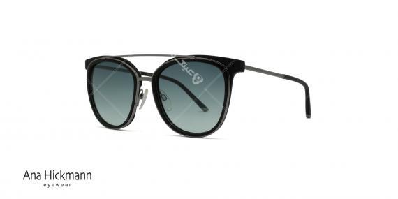 عینک آفتابی مربعی شکل دو پل آناهیکمن - بدنه مشکی نوک مدادی - عکاسی وحدت - زاویه سه رخ