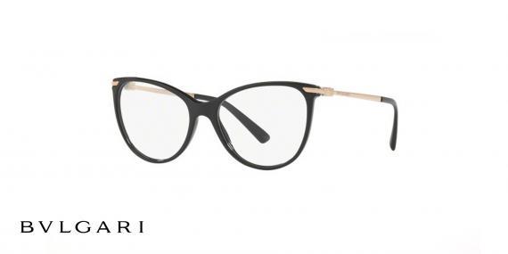عینک طبی بولگاری مشکی رنگ - زاویه سه رخ