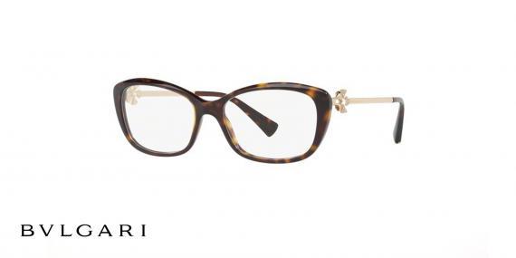 عینک طبی بولگاری - دسته طلایی بدنه کائوچویی قهوه ای هاوانا - از کالکشن دیوا - زاویه سه رخ