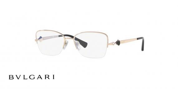 عینک طبی زیرگریف طلایی رنگ بولگاری - زاویه سه رخ
