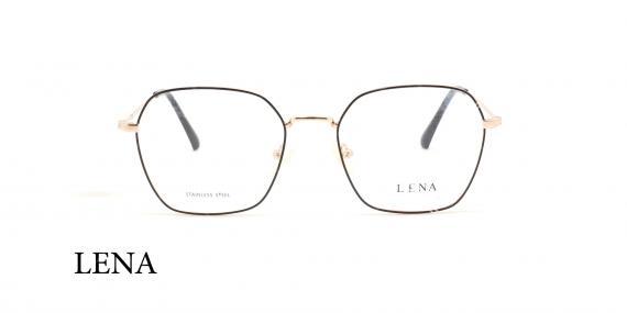 عینک طبی چندضلعی لنا - LENA LE450 - رنک طلایی - عکاسی وحدت - عکس زاویه روبرو