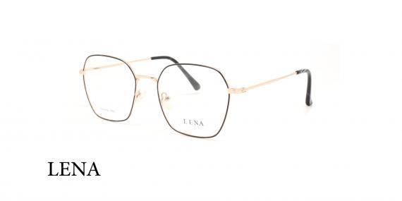 عینک طبی چندضلعی لنا - LENA LE450 - رنک طلایی - عکاسی وحدت - عکس زاویه سه رخ