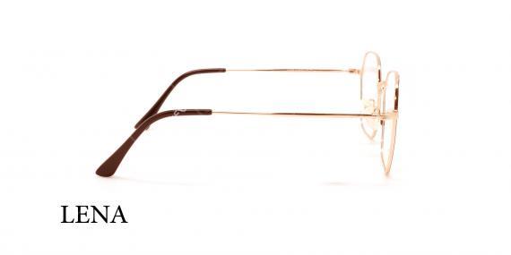 عینک طبی چندضلعی لنا - LENA LE450 - رنک طلایی - عکاسی وحدت - عکس زاویه کنار