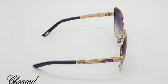 عینک آفتابی شوپارد دسته طلایی طرح رولکس و عدسی های بنفش رنگ - عکاسی وحدت - زاویه روبرو