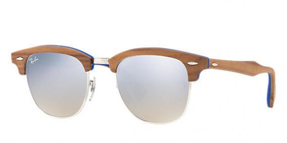 عینک آفتابی کلاب مستر چوبی ری بن - بدنه چوبی و آبی - رنگ نقره ای - زاویه سه رخ