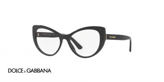عینک طبی کائوچویی مشکی رنگ گربه ای دولچه گابانا - زاویه سه رخ