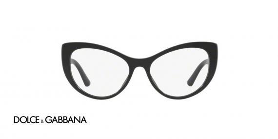 عینک طبی کائوچویی مشکی رنگ گربه ای دولچه گابانا - زاویه روبرو