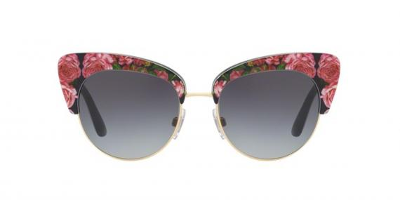 عینک آفتابی طرح گلدار مشکی صورتی دولچه گابانا - زاویه روبرو