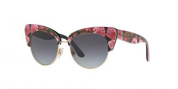 عینک آفتابی طرح گلدار مشکی صورتی دولچه گابانا - زاویه سه رخ