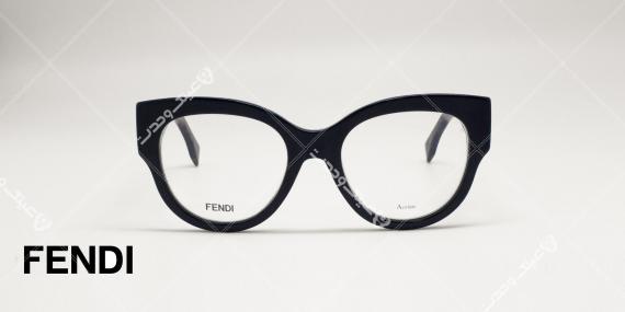 عینک طبی فندی - مدل گربه ای - کائوچویی دسته مشکی برا طرح سفید و قهوه ای - عکاسی وحدت - زاویه روبرو