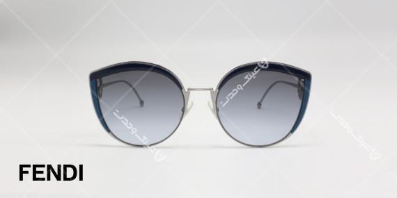 عینک آفتابی فندی طرح قطره آب - بدنه نقره ای - عدسی های دودی طیف دار - عکاسی وحدت - زاویه روبرو