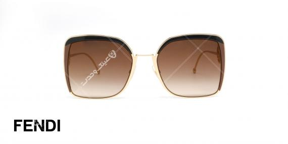 عینک آفتابی فلزی طلایی فندی - عدسی ها قهوه ای طیف دار - عکاسی وحدت - زاویه روبرو