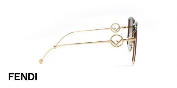 عینک آفتابی فلزی طلایی فندی - عدسی ها قهوه ای طیف دار - عکاسی وحدت - زاویه کنار