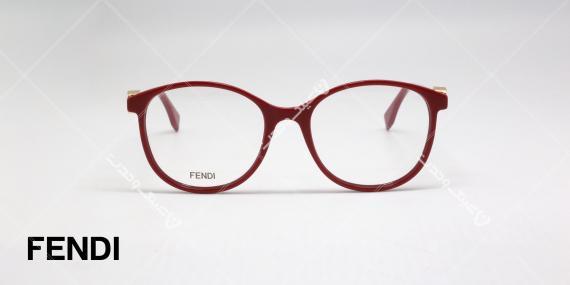 عینک طبی فندی - قرمز رنگ - کائوچویی با فلز طلایی نماد فندی روی دسته - عکاسی وحدت - زاویه روبرو