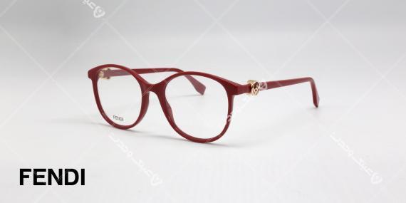 عینک طبی فندی - قرمز رنگ - کائوچویی با فلز طلایی نماد فندی روی دسته - عکاسی وحدت - زاویه سه رخ
