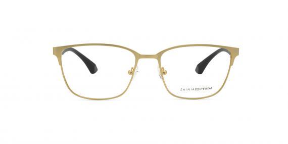 عینک طبی زینیا مربعی شکل طلایی رنگ - زاویه رو به رو