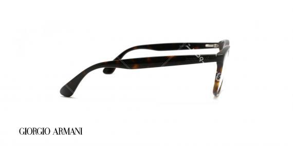 عینک طبی کائوچویی جورجیو ارمانی - رنگ بدنه قهوه ای هاوانا - عکاسی وحدت - زاویه کنار