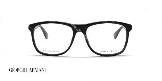 عینک طبی کائوچویی جورجیو ارمانی - رنگ بدنه مشکی - عکاسی وحدت - زاویه رو به رو