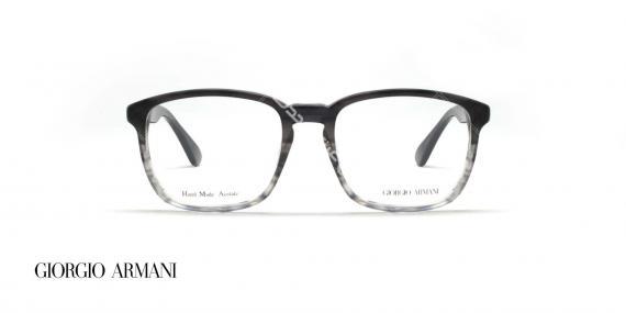 عینک طبی کائوچویی مستطیلی شکل جورجیو ارمانی - بدنه مشکی چند رنگ به سمت شیشه ای - عکاسی وحدت - زاویه روبرو
