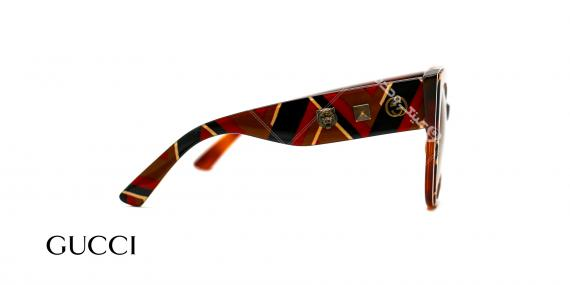 عینک آفتابی خاص گوچی بزرگ - آبی کرم قرمز شیری - عکاسی وحدت - زاویه سه رخ